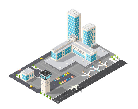 turbine engine: Isometric map of the city airport, the trees and the flight of construction and building, terminal, planes and cars vector illustration.