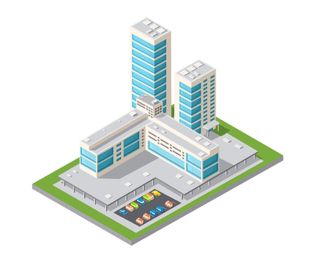 Skyscrapers, urban high-rise home. Set of objects for urban design.  イラスト・ベクター素材