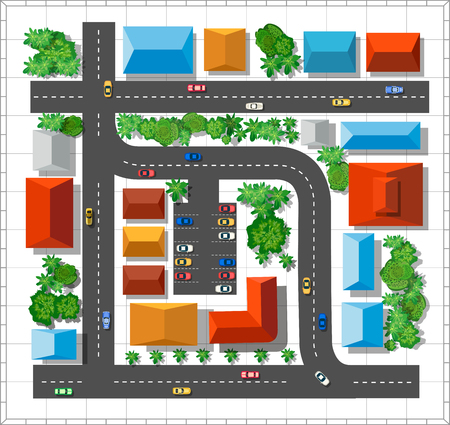view from above: Top view of the city. Urban  street with houses and trees Illustration