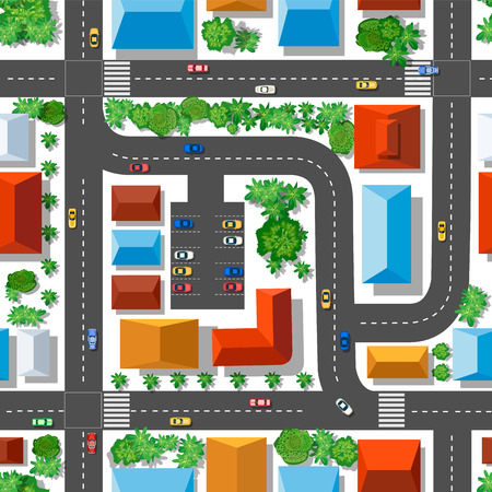 Top view of the plan city. Seamless repeating pattern. Urban streets and houses, roofs and trees.