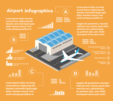 airfield: Isometric infographics of the city airport,  flight of construction and building, terminal, planes