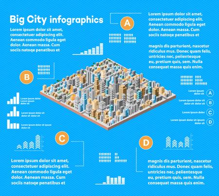 Urban infographics with isometric city Ilustração Vetorial