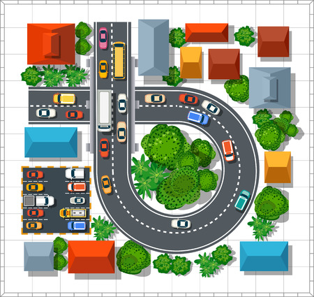 Top view of the city. Urban  street with houses and trees Illustration