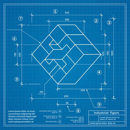 perspectiva lineal: Industrial construction drawing production figures. Blueprint background image
