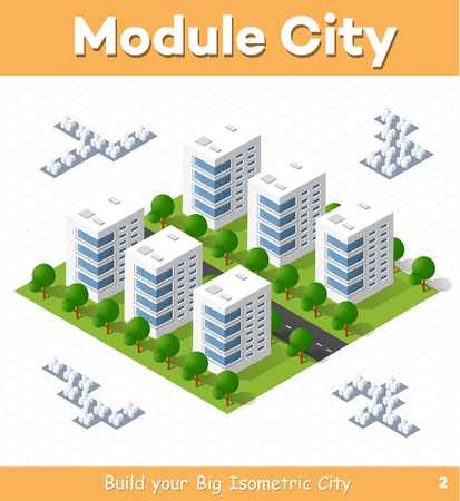 urban street: Urban module for the construction and design of large isometric city. Six town houses white with a street with trees Illustration