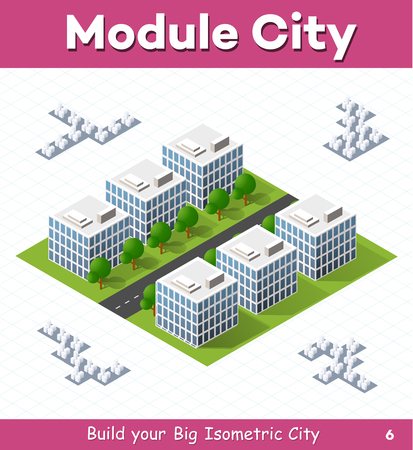 Urban module for the construction and design of large isometric city. Six town houses white with a straight street with trees Illusztráció