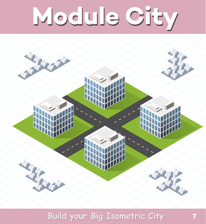 Urban module for the construction and design of large isometric city. Four town houses white with a crossroads of streets without trees