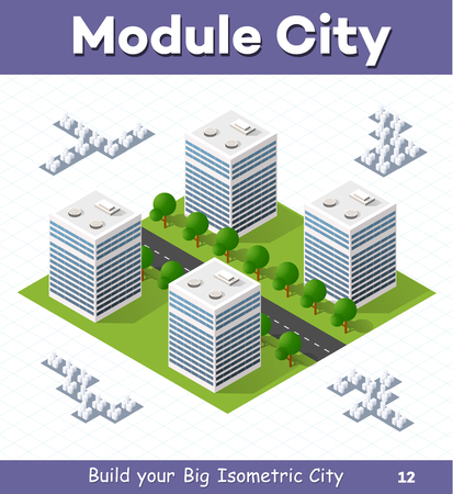 Urban  module  for  the  construction  and  design  of  large  isometric  city. Four of the skyscraper to the street with trees