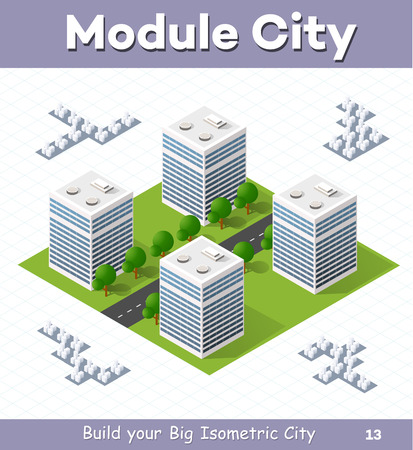 urban street: Urban  module  for  the  construction  and  design  of   large  isometric  city. Four of the skyscraper to the street with trees Illustration