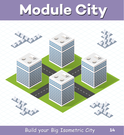 Urban  module  for  the  construction  and  design  of  large  isometric  city. Four of a skyscraper with a crossroads of streets without trees