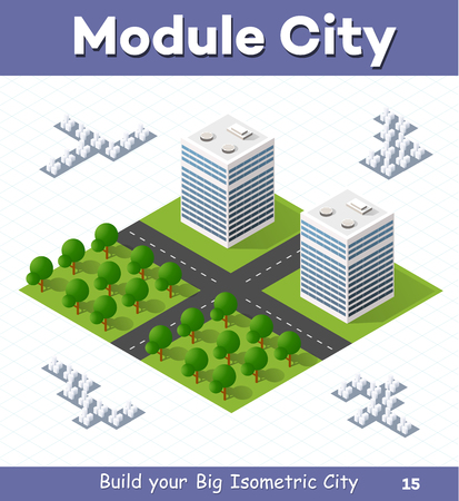 Urban  module  for  the  construction  and  design  of  large  isometric  city. Two high-rise building with a garden on the left