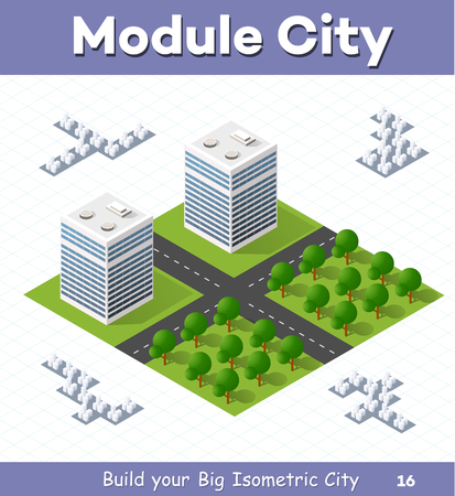 Urban  module  for  the  construction  and  design  of  large  isometric  city. Two high-rise building with a garden right