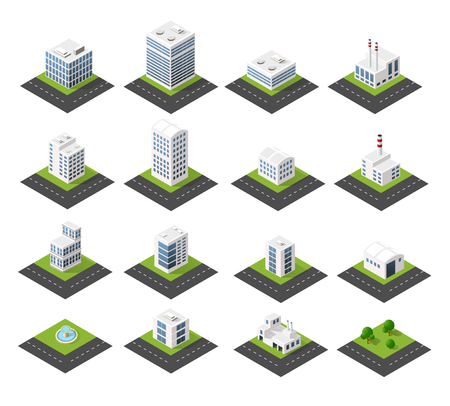 Urban isometric icons for the web with houses and streets
