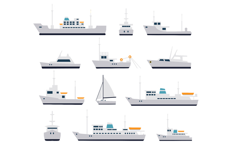 harbor: Set of fishing vessels and cruise