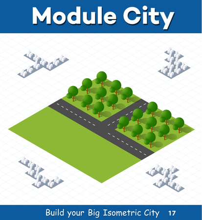 Urban module for the construction and design of large isometric city. Country parks with trees Illusztráció