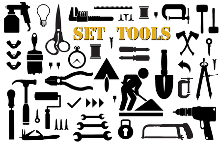 household goods: Set of retro building tools and accessories household goods