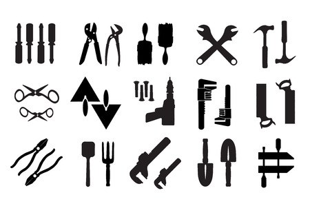 Industrial workers: Set of retro building tools and accessories household goods