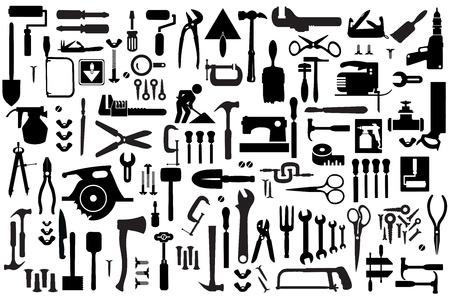 Reeks retro gebouw gereedschappen en toebehoren huishoudelijke goederen Vector Illustratie