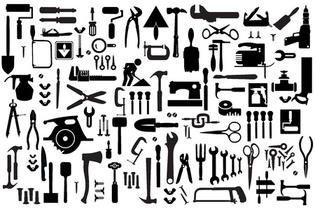 Set of retro building tools and accessories household goods Vetores