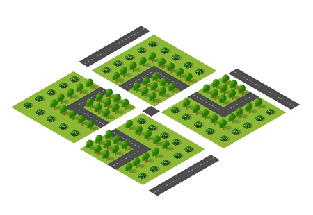 urban jungle: Urban module for the construction and design of large isometric city. Country park with trees