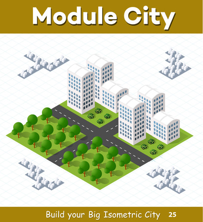 Urban module for the construction and design of large isometric city. City quarter with skyscrapers and trees