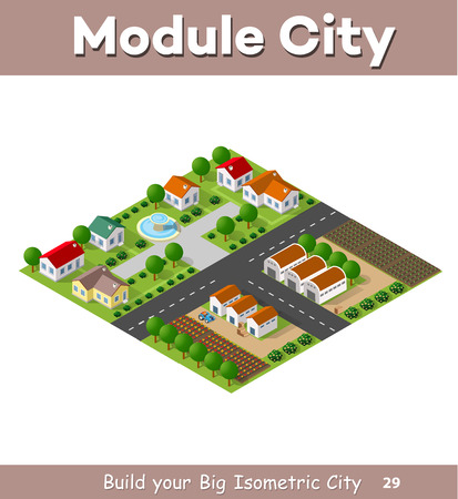 rural houses: Country village of townhouses and rural houses with roads, streets, trees in an isometric view and a garden Illustration