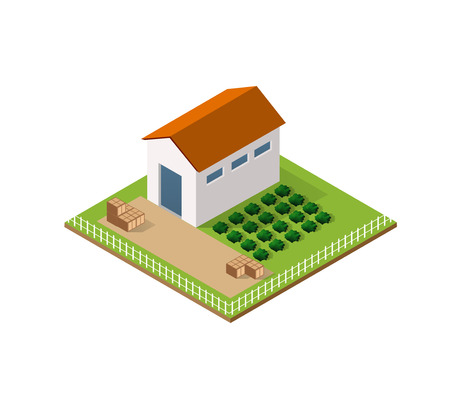 grain storage: Rural farm in isometric view with trees and garden