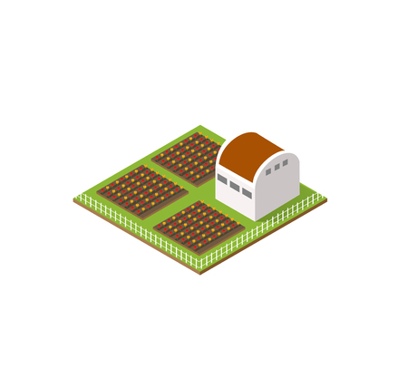 silos: Rural farm in isometric view with trees and garden