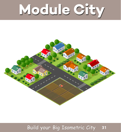 country roads: Country village of townhouses and rural houses with roads, streets, trees in an isometric view and a garden Illustration