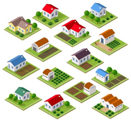 Zestaw kamienic i domów wiejskich z drzewami w izometrycznym widoku i ogrodu