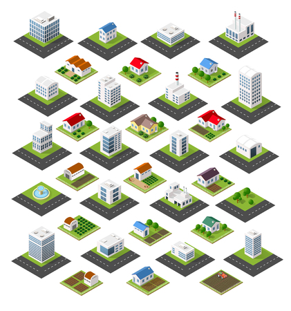 town homes: Isometric set of icons isolated town homes, skyscrapers, factories, trees, gardens and streets Illustration
