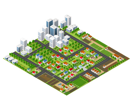 Isometric perspective city with streets, houses, skyscrapers, parks and trees