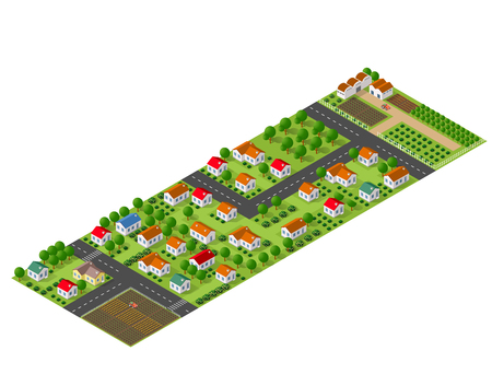 crops: Isometric perspective view of a rural area with village houses, gardens, trees and farms