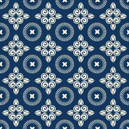 Romantische Blumen nahtlose Muster für die Dekoration Damasttapete, Vintage-Stil Vektorgrafik