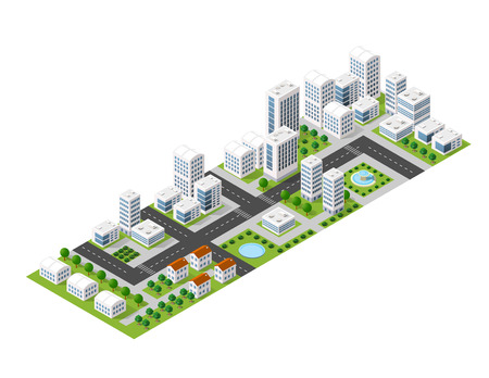 city landscape: Flat isometric map, landscape city, building skyscraper, picture of the nature, parks, cafe, landmarks. Vector 3d top view block dormitory area