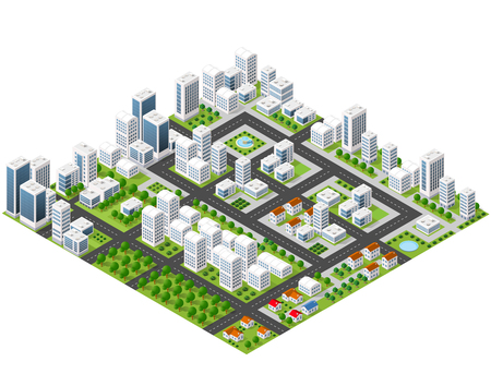 Great 3D metropolis of skyscrapers, houses, gardens and streets in a three-dimensional isometric view Vectores
