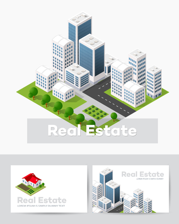 Modelli di biglietti da visita per agenzie immobiliari, portali città, imprese di costruzione e presentazioni di design Vettoriali