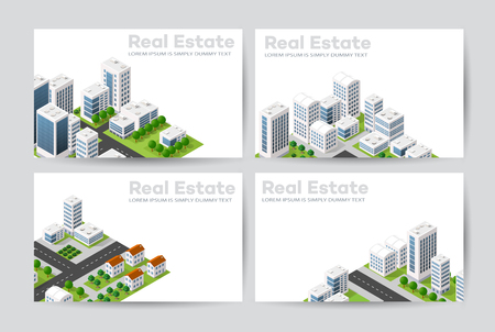 real business: Templates of business cards for real estate agencies, city portals, construction firms and design presentations