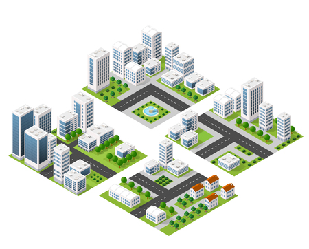 3D  kit metropolis of skyscrapers, houses, gardens and streets in a three-dimensional isometric view Vectores