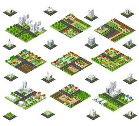 A large kit of 3D metropolis of skyscrapers, houses, gardens and streets in a three-dimensional isometric view Vectores