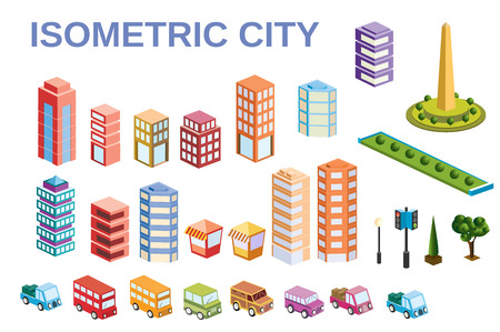 3D  kit metropolis of skyscrapers, houses, gardens and streets in a three-dimensional isometric view Stock Vector - 59888612