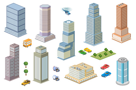 city buildings: 3D  kit metropolis of skyscrapers, houses, gardens and streets in a three-dimensional isometric view Illustration