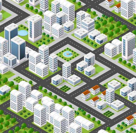 3D isometric city landscape of skyscrapers, houses, gardens and streets in a three-dimensional top view Stock Vector - 59888629