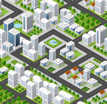 Isometrischen 3D-Stadtlandschaft der Wolkenkratzer, Häuser, Gärten und Straßen in einer dreidimensionalen Ansicht von oben Standard-Bild - 59888629