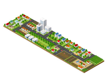 3D isometric city landscape of skyscrapers, houses, gardens and streets in a three-dimensional top view