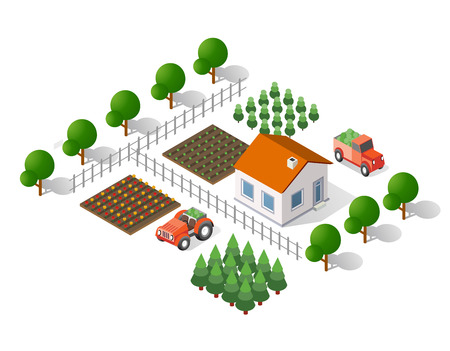 crops: Isometric 3d rural landscape elements set a plan view of a tractor and tree house Illustration
