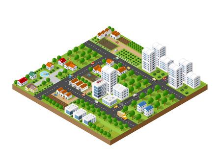 3D isometrico paesaggio cittadino di grattacieli, case, giardini e strade in una vista tridimensionale superiore Vettoriali