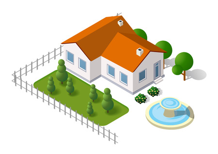 crops: Isometric 3d rural landscape elements set a plan view and tree house Illustration