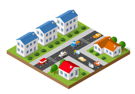 small town: 3D isometric landscape of a small town with houses and streets with trees