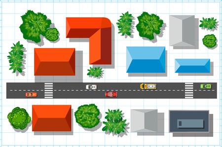 Bovenaanzicht van de stad met quadrocopters met daken van huizen en bomen Stock Illustratie